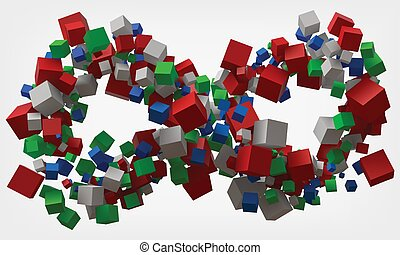 infinity symbol with cubes. 3d style vector illustration.