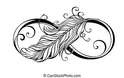 Contour, artistically drawn infinity symbol with light feather on white background.