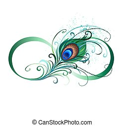 The symbol of infinity with a bright, green, artistic peacock feather on a white background. Tattoo style.
