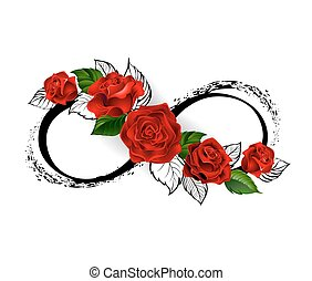 Infinity symbol with red roses
