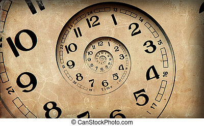 Vintage infinity clock. Time concept.