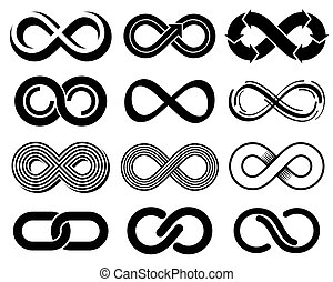 Infinity vector symbols. Mobius loop icons. Infinite sign...