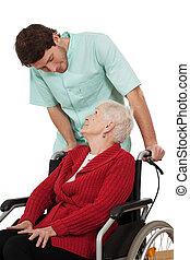 infirmière, à, handicapé