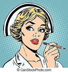 infirmière, écrit, diagnostic