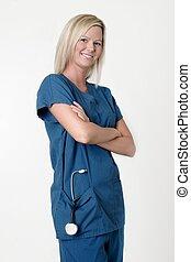 infirmière, armes traversés, joli, sourire