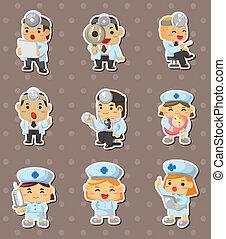 infirmière, autocollants, docteur