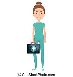 infirmière, caractère, kit médical