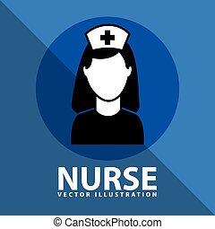 infirmière, conception, icône