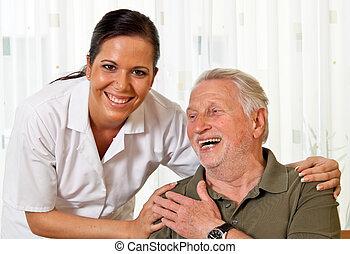 infirmière, dans, personnes âgées soucient, pour, les,...