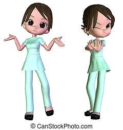 infirmière, dessin animé, 3d