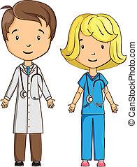 infirmière, dessin animé, docteur