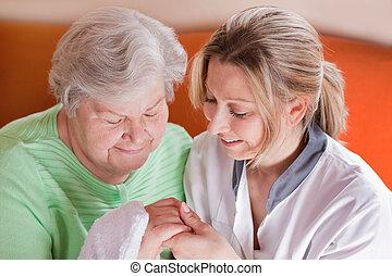 infirmière, femme, lave, personnes agées, mains