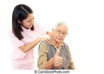infirmière, femme, personnes agées