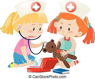 infirmière, gosses, jouer, poupée