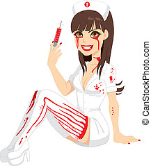 infirmière, halloween, sanglant