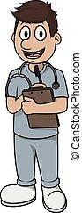 infirmière, homme, vecteur, dessin animé