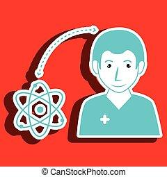 infirmière, icône, isolé, homme, moléculaire, conception