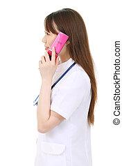 infirmière, jeune, asiatique féminin