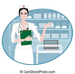 infirmière, jeune, pointage