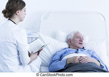 infirmière, lecture, patient, livre