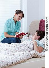 infirmière, livre, lecture