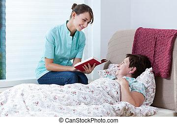 infirmière, livre, lecture, utile