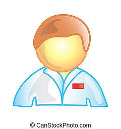 infirmière, mâle, icône