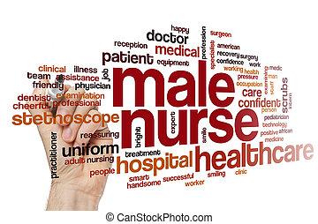 infirmière, mâle, mot, nuage