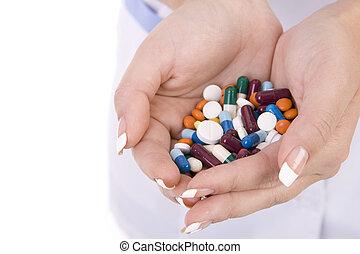 infirmière, maladie, fond, médicament, traité, mains, ...
