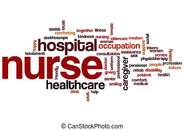 infirmière, mot, nuage