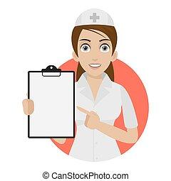 infirmière, points, cercle, formulaire