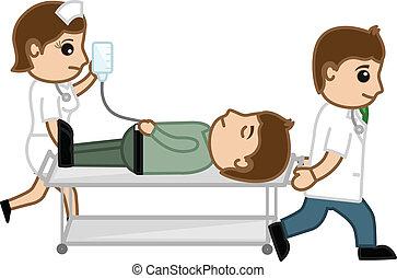 infirmière, porter, patient, docteur