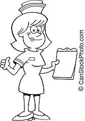 infirmière, presse-papiers, dessin animé