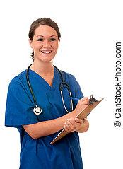 infirmière, presse-papiers, stéthoscope, isolé, femme