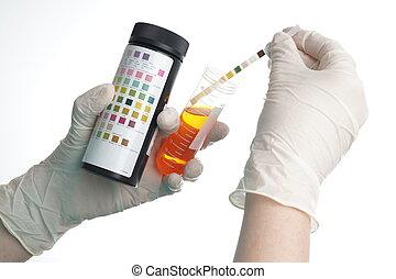 infirmière, raies, essai, examiné, urine