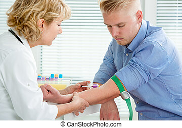 infirmière, sang prenant, échantillon
