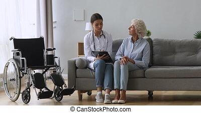 infirmière, sur, questions, patient., condition, demander, ...