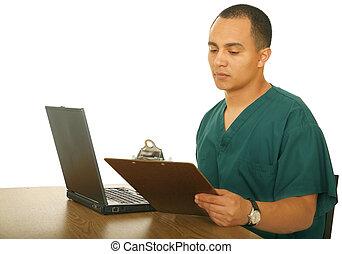 infirmière, travail, informatique