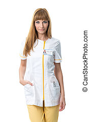 infirmière, travail, jeune, joli, vêtements