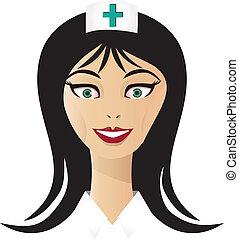 infirmière, vecteur, joli, figure