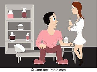 infirmière, vecteur, patient, injecte, illustration