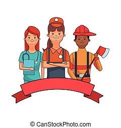 infirmière, vendeur, pompier