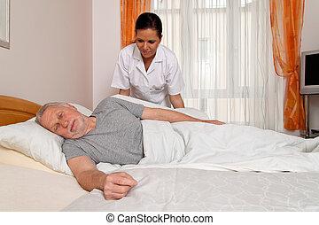 infirmière, vieilli, soin