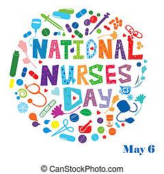 infirmières, national, jour