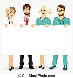 infirmières, panneau affichage, vide, tenue, médecins