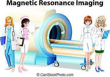 infirmières, résonance, magnétique, imaging, médecins