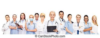 infirmières, sourire, stéthoscope, femme, médecins