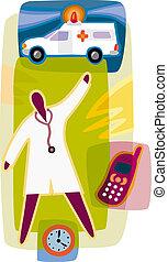 infirmier, ambulance, horloge