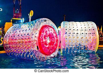 inflável, água, rolo, para, crianças, presente, em, um,...