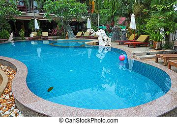 inflável, bolas, dois, piscina